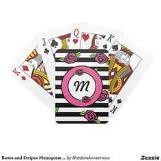 Roses and Stripes Monogram Playing Cards