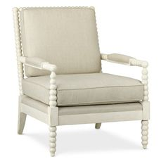 """Williams Sonoma Spindle Chair 29""""W x 34.5""""D x 37""""H Fabric is """"flax;"""" wood finishes are black or white"""