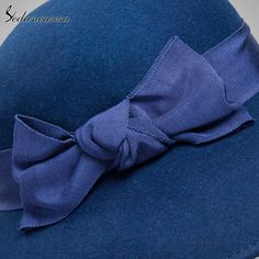 100% Australian Wool Fedora Hat bowknot Noble Bowler Hats For Women Wide Brim Formal Church Cloche Hat Like and Share if you agree! #shop #beauty #Woman's fashion #Products #Hat