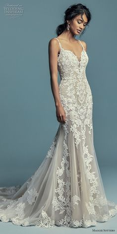 maggie sottero fall 2018 bridal sleeveless thin strap sweetheart neckline full embellishment elegant mermaid wedding dress chapel train (1) mv -- Maggie Sottero Fall 2018 Wedding Dresses | Wedding Inspirasi #wedding #weddings #bridal #weddingdress #bride ~