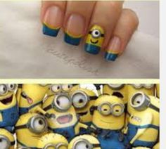 Minions from the movie 'Despicable Me' nail art design by Cutepolish. Cute!