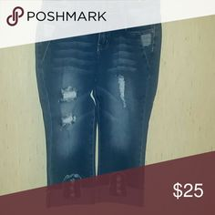 Friday Special NWT Blue wash denim capri Distress These sizes are 3/4,5/6,7/8,etc. 4% spandex Jeans