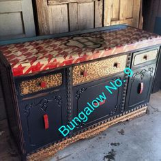 Houndstooth; leopard; custom painted; buffet