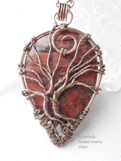 Wire Wrapped Tree of Life Bonsai Pendant Red by PerfectlyTwisted