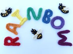 Crochet rainbow appliques and 3 applique bees by MyfanwysAppliques, £7.20