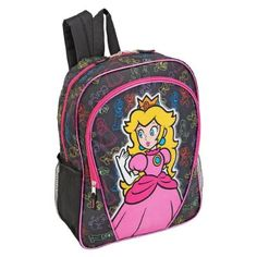 Nintendo Super Mario Princess Peach 16 inch Backpack - Black:Amazon:Toys & Games