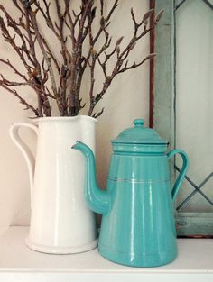 vintage French enamelware coffee pot in gorgeous turquoise! Available at AtticAntics on Etsy