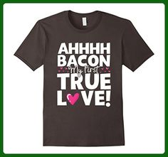 Mens Funny I Love Bacon My First True Love T Shirt Small Asphalt - Food and drink shirts (*Amazon Partner-Link)