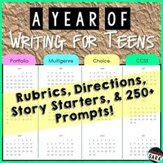 $ - Writing Prompts for Teens Bundle: a YEAR of Multigenre Choice Menus! Great for CCSS English for middle school and early high school - includes multiple genres and holidays!
