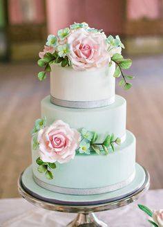Mint wedding cake with gorgeous pink roses – so adorable! Mint wedding cake with gorgeous pink roses – so adorable! Summer Wedding Cakes, Wedding Cakes With Flowers, Beautiful Wedding Cakes, Gorgeous Cakes, Pretty Cakes, Spring Wedding, Wedding Blush, Mint Wedding Cake, Wedding Rings