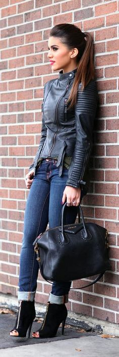 Fall / Winter - street chic style - cropped skinnies + black leather jacket + black handbag + black toeless heeled boothies