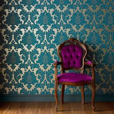 Majestic Teal graham and brown removable wallpaper