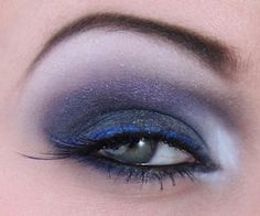 Love the smokey eye and blue liner....