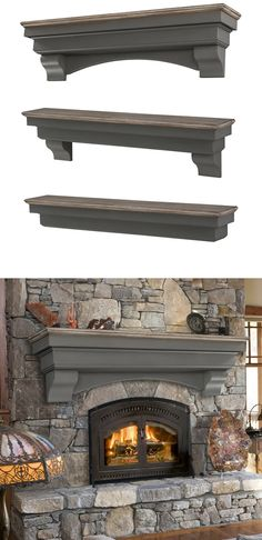 The shelf comes to you with three separate design components consisting of the s. - The shelf comes to you with three separate design components consisting of the shelf, a pair of cor - Custom Fireplace Mantels, Farmhouse Fireplace Mantels, Cottage Fireplace, Family Room Fireplace, Fireplace Update, Fireplace Shelves, Mantel Shelf, Faux Fireplace, Fireplace Remodel