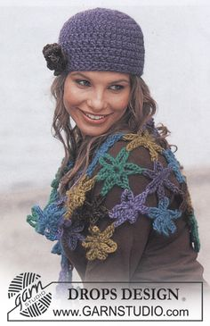 """free pattern - Super easy floral shawl: ch4,  join into a ring with slst in the first ch; next(ch 8, 1 sc in ring) 6x. Make a lot and stitch together, or crochet tog as you go. DROPS Design in """"Eskimo."""""""