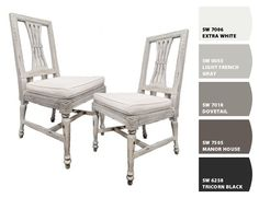 Gray and white tones / Paint colors by Sherwin-Williams / SW Extra White, SW Light French Gray, SW Dovetail, SW Manor House, SW Tricorn Black