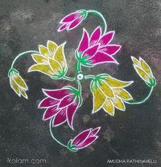Rangoli Flowers 15th Dotted Kolam (connected dots) | m.iKolam.com Rangoli Side Designs, Flower Art Drawing