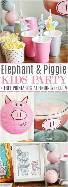 Elephant & Piggie Party: Anniversary : It is an Elephant & Piggie party, including free printables! We are celebrating the anniversary of this fun book series by Mo Willems with piggie punch, books and fun decor! Piggie And Elephant, Elephant Party, Elephant Birthday, Anniversary Party Decorations, Anniversary Parties, Mo Willems, Birthday Party Themes, 5th Birthday, Birthday Ideas