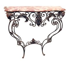 Petite ornate marble and wrought iron console