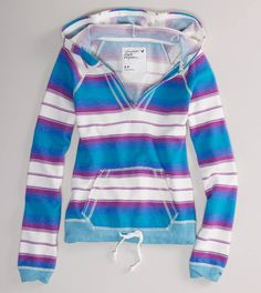 American Eagle- Striped Pullover Hoodie. On my wishlist! Pair with denim shorts. $30.00