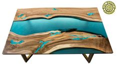 Resin dining table with glowing inlay and turquoise river image 6 Resin Table, Wood Table, Dining Table, Table Bench, Powder Paint, Selling Handmade Items, Diy Kitchen Island, Wood Structure, Illusions