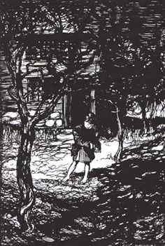 Hansel picked up the glittering white pebbles and filled his pockets with them. Hansel and Gretel - illustration by Arthur Rackham