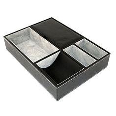 HUJI Black Leatherette Valet Jewelry Tray Display Showcase Insert Liner Organizer 5 Compartments Desk Car Home Dresser Keys Phone Wallet Coins (1, Black Leatherette Jewelry / Valet Tray)