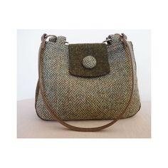 Harris Tweed Handbag/ Shoulder Bag - Lovett Herringbone & GreenWith Tab
