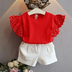 2020 Pretty Kids Baby Girl Summer Clothes Sets Lace Fly Sleeve T-Shirt+Shorts Child Girl Solid Outfits Cotton Tops Ropa de niña, Girls Summer Outfits, Toddler Girl Outfits, Summer Girls, Kids Girls, Baby Girls, Summer Clothes, Summer Baby, Summer 2016, Baby Boy