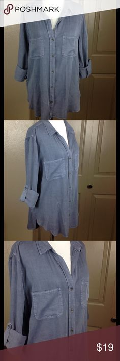 Rock & Republic Shirt Top High Low Medium Lavender Great condition lavender purple breast pockets adjustable long sleeves button down 100% Rayon machine wash 26 inch length front 30 back 21 bust Rock & Republic Tops Button Down Shirts