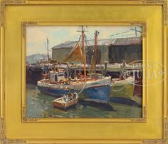 """""""FBI Wharf, Gloucester,"""" Charles Movalli. oil on board, 16 x 20"""", private collection."""