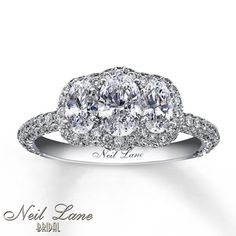 Neil Lane 3-Stone Ring 2 1/3 ct tw Diamonds 14K White Gold....this will be MY ring someday.