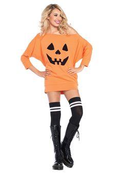 Pumpkin Dress Adult Jersey Costume - FOREVER HALLOWEEN