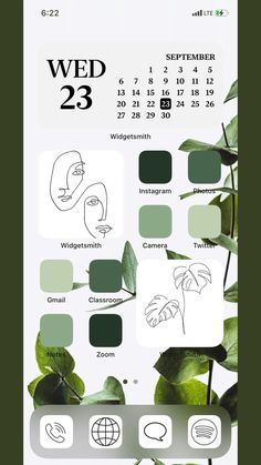 Ios14 green aestheic homescreen