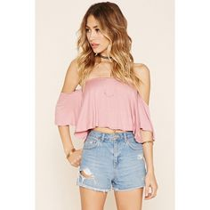 Forever 21 Women's  Off-The-Shoulder Flounce Top ($13) ❤ liked on Polyvore featuring tops, forever 21, off the shoulder ruffle top, pink top, off shoulder frill top and flounce tops