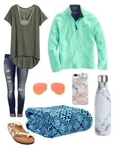 """Simple fall/winter outfit"" by jclavernia on Polyvore featuring Mavi, Vineyard Vines, Ray-Ban, Recover, H&M, Kendra Scott, Birkenstock, S'well and Vera Bradley"