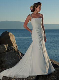 A-ligne une épaule robe de mariage en mousseline de soie - Robes de Mariage Boutique