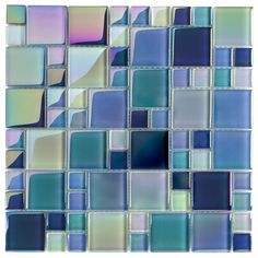 Glass Pool Tile Shimmer Turquoise Random has an iridescent and yet glossy finish, shimmering the light thru the glass colors. Good for wet and dry applications such as swimming pools, backsplash, and