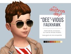 "The Sims 4 | femmeonamissionsims: ""Dee""-vious Fauxhawk male child hairstyle hairs SP01 Luxury Party Stuff"