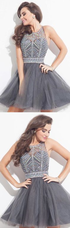 Homecoming Dresses, Short Party Dresse Rhinestone Party Dresses, Bateau Prom Dresses, Sleeveless Prom Dresses
