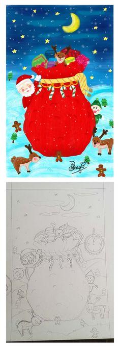 #merrychristmas #christmas #santa #santaclaus #illust #illustration #illustrator #draw #drawing #digitaldrawing #sketch #doodle #doodling