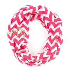 """NEW""!! Monogrammed Infinity Chevron Scarf. Other colors also available. Check us out at www.facebook.com/pages/Sassy-Decor-and-More-LLC/365352106761"