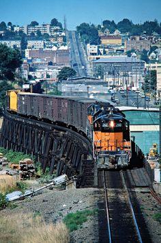 MILW, Tacoma, Washington, 1978 Northbound Milwaukee Road freight train in Tacoma, Washington, on August 7, 1978. Photograph by John F. Bjorklund, © 2016, Center for Railroad Photography and Art. Bjorklund-67-01-10