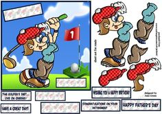 A great card front for golf fans  can be used as is just add a greeting or build up the   layers for a 3d effect  fits a 7x7 inch card front