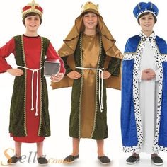 christmas costumes for kids Boys Wise Men Christmas 3 Kings Nativity Play Kids Childrens Fancy Dress Costume. Christmas Pageant, Christmas Fancy Dress, Christmas Costumes, Halloween Costumes, Christmas Program, Halloween Halloween, Vintage Halloween, Halloween Makeup, Xmas