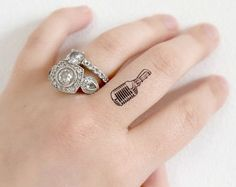 Tiny Microphone temporary tattoo - Body art , Set of 5, Tattoo, Tiny Tattoo, Accessories
