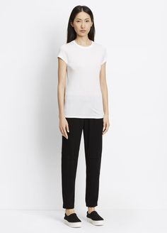 Vince's pull up cargo pants in crepe fabric is comfy and great for travel.  Size down 1-2 sizes for a nice jogger fit.