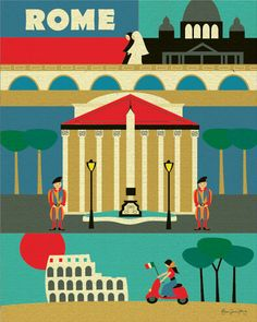 Rome, Italy Illustration Collage - European Travel Poster Print Art for Home, Office, Nursery - 11 x 14 - style sold by Loose Petals. Shop more products from Loose Petals on Storenvy, the home of independent small businesses all over the world. Poster Vintage, Vintage Travel Posters, Poster S, Poster Prints, Art Print, Italy Illustration, Rome Florence, Rome Map, Italian Baby