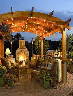 I would love to have something like this in my back yard! dream backyard, outdoor living spaces, outdoor patios, outdoor living rooms, pergola, outdoor fireplaces, deck, sitting areas, outdoor spaces