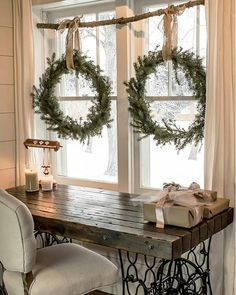 Make these DIY wreaths for FREE without buying a wreath form. Make your own holiday decorations with a few pine tips and hedge branches. This easy craft tutorial will show you how to make these Christmas wreaths and build a rustic window display all wi Winter Home Decor, Winter House, Christmas On A Budget, Christmas Home, Christmas Window Display Home, Elegant Christmas, Christmas Window Decorations, Fireplace Decorations, Christmas Pajamas